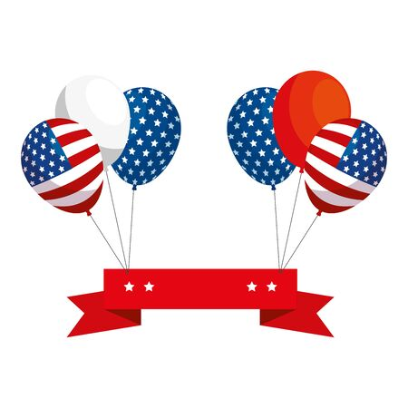 Usa balloons and ribbon design, United states america independence labor day nation us country and national theme Vector illustration