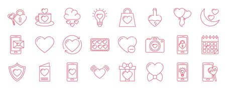 Icon set design of love passion romantic valentines day wedding decoration and marriage theme Vector illustration Vettoriali