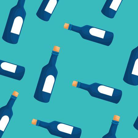background of bottles wine icons vector illustration design Ilustração