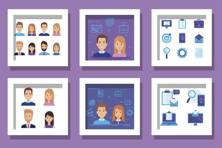 bundle of business people and set icons vector illustration design