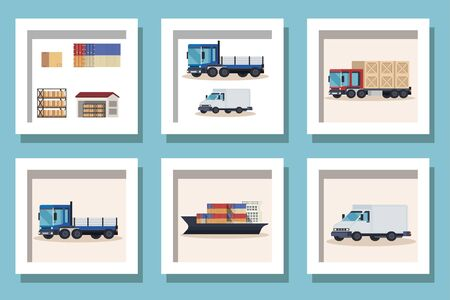 bundle of delivery vehicles transportation vector illustration design Ilustração