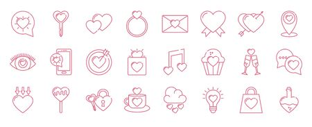 Icon set design of love passion romantic valentines day wedding decoration and marriage theme Vector illustration Illusztráció