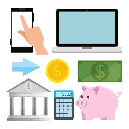 set of laptop with smartphone and calculator to banking technology vector illustration