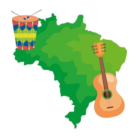 guitar and drum with map of brazil isolated icon vector illustration design