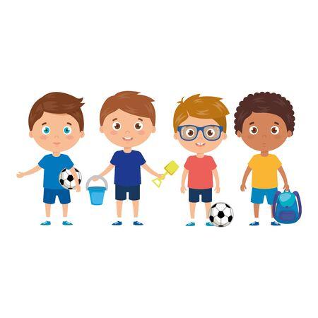 scene of boys standing on white background vector illustration design