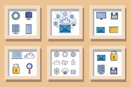 bundle designs set of data center icons vector illustration design Иллюстрация