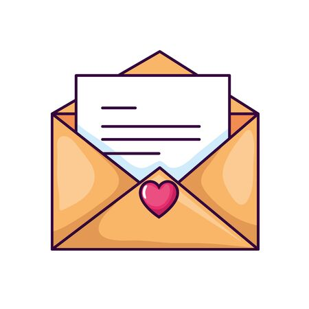 cute envelope open with card and heart vector illustration design