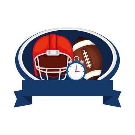helmet with chronometer and ball american football vector illustration design