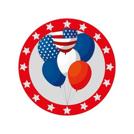 Usa balloons inside seal stamp design, United states america independence nation us country and national theme Vector illustration