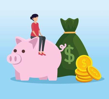 woman sitting piggy with money bag and coins vector illustration
