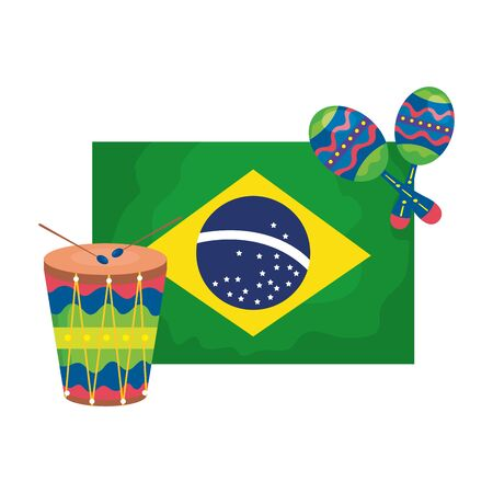 drum and maracas with flag brazil isolated icon vector illustration design