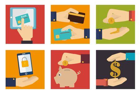 bundle of finance set icons vector illustration design
