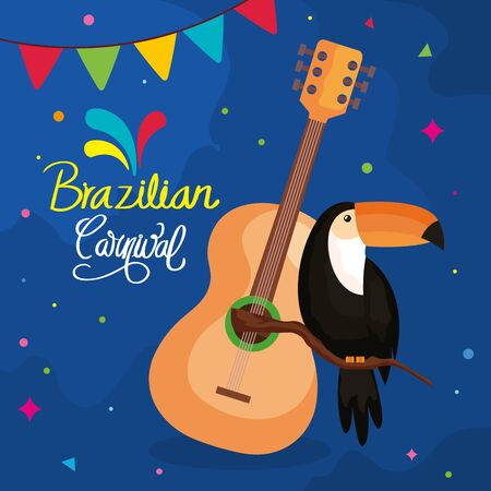 poster of brazilian carnival with toucan and guitar vector illustration design