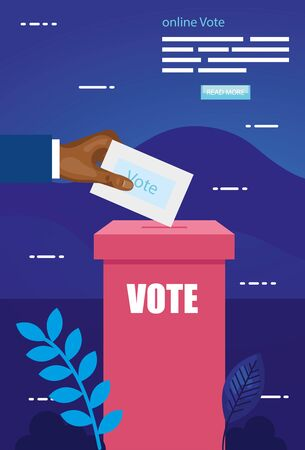 poster of online vote with hand and ballot box vector illustration design