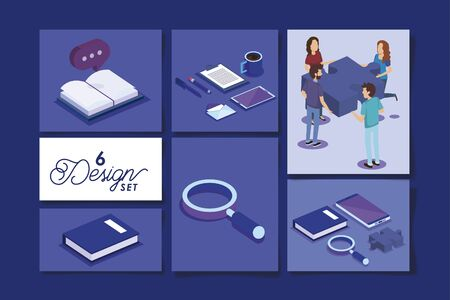six designs of people with office equipments vector illustration design