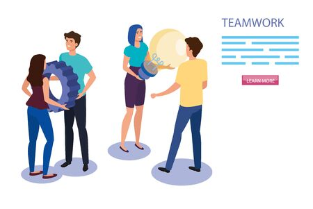 work team group with gear and light bulb vector illustration design 矢量图像