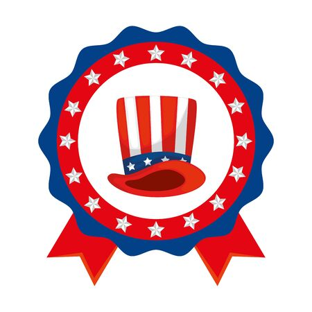 Usa hat inside seal stamp design, United states america independence presidents day nation us country and national theme Vector illustration Çizim
