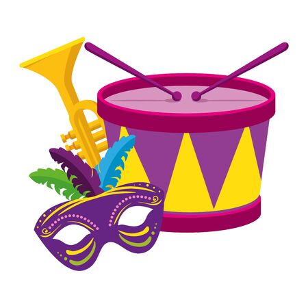 Mardi gras drum trumpet and mask design, Party carnival decoration celebration festival holiday fun new orleans and traditional theme Vector illustration