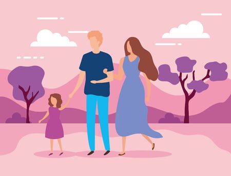 parents with daughter in the park vector illustration design Ilustracja