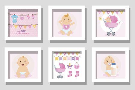 bundle of designs baby shower for girl vector illustration design