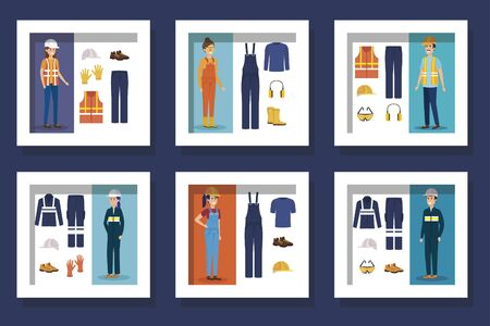 bundle of workers with uniforms and personal protection elements vector illustration design Çizim