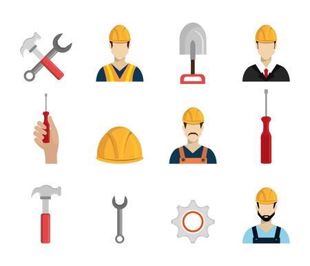 set workers construction icons vector illustration design
