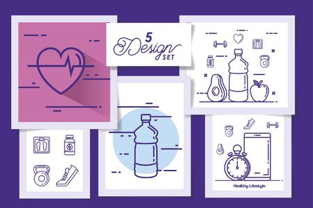 five designs of lifestyle healthy icons vector illustration design Ilustracja