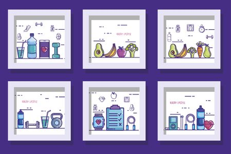 bundle of designs of lifestyle healthy and icons vector illustration design Ilustracja