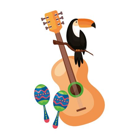 maracas with guitar and toucan isolated icon vector illustration design 일러스트