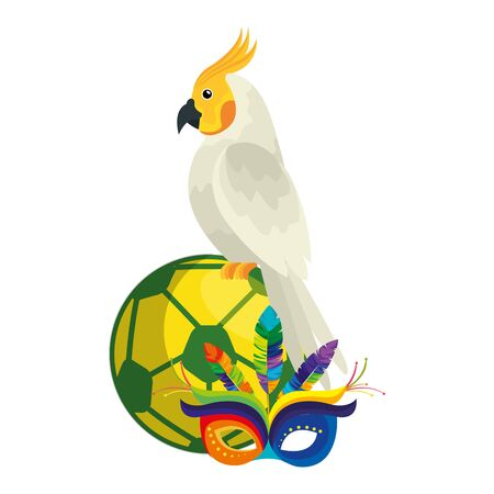 parrot with ball soccer and mask carnival isolated icon vector illustration design Illustration