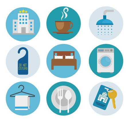 Hotel icon set design of travel service reception room resort accommodation motel lobby and vacation theme Vector illustration