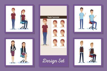 designs set of elegant business people vector illustration design