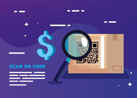 scan qr code in box carton and icons vector illustration design Ilustrace