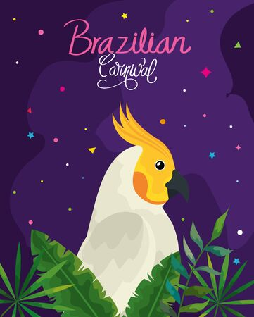 poster of carnival brazilian with parrot and leafs vector illustration design
