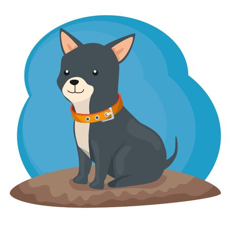 cute little dog animal with necklace vector illustration design