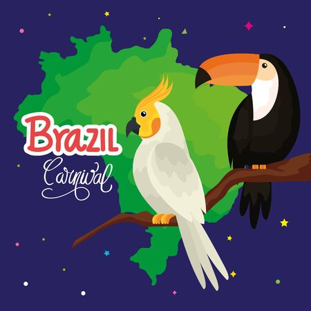 poster of carnival brazil with parrot and toucan vector illustration design