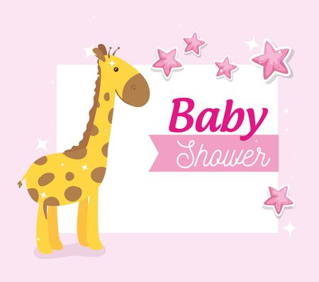 baby shower card with giraffe and stars decoration vector illustration design