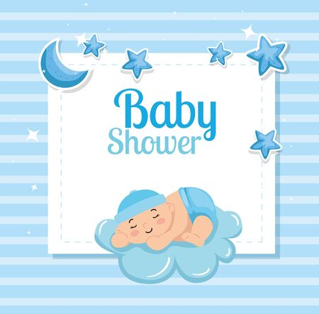 baby shower card with cute little boy and decoration vector illustration design Stok Fotoğraf - 140679618