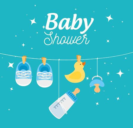 baby shower card with decoration hanging vector illustration design