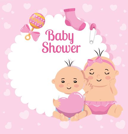 baby shower card with little girls and decoration vector illustration design