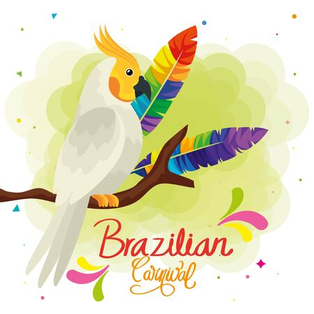 poster of carnival brazilian with parrot and decoration vector illustration design