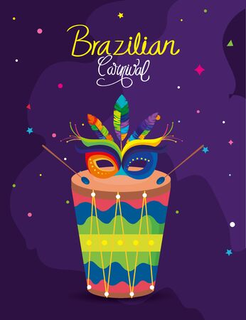 poster of carnival brazilian with drum and mask carnival vector illustration design