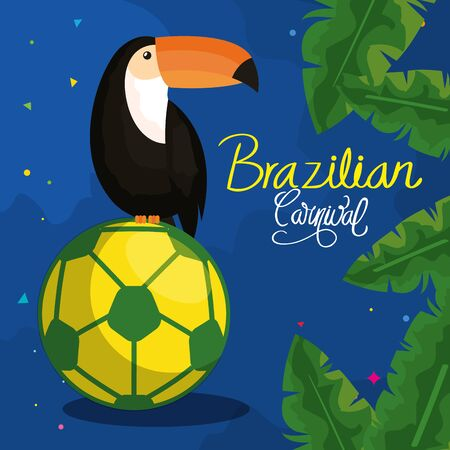 poster of carnival brazilian with toucan and soccer ball vector illustration design