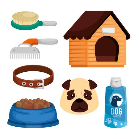 set items pet shop icons vector illustration design Ilustración de vector