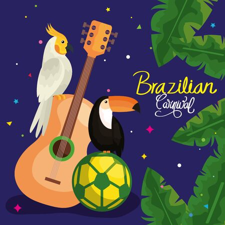poster of carnival brazil with parrot and traditional icons vector illustration design