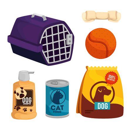 set items pet shop icons vector illustration design