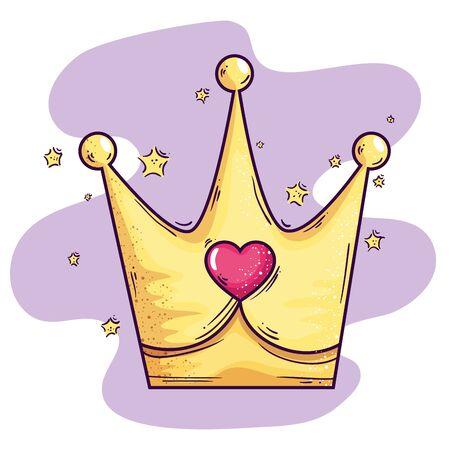 cute crown with heart and stars decoration vector illustration design Ilustração