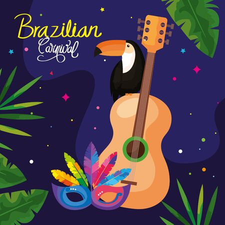 poster of carnival brazilian with toucan and icons traditional vector illustration design