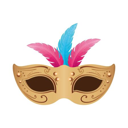 elegant mask with feathers isolated icon vector illustration design