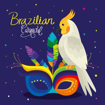 poster of carnival brazilian with parrot and mask vector illustration design